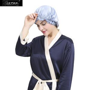 Image 2 - LilySilk Silk Night Sleep Cap Silk Cap for Sleeping Women Flounced Brand Solid 19 Momme Elegant Hair Care Accessories