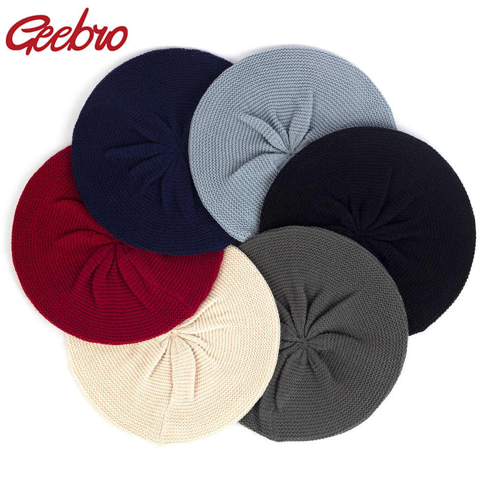 Geebro Women's Casual Plain Color Knit Beret Hat Spring Autumn Thin Acrylic Berets for Women Ladies Artist Beanie Beret Hats