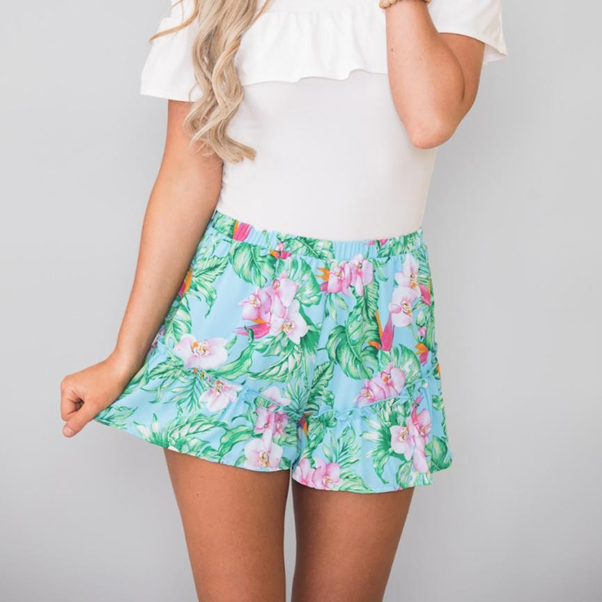 Fashion floral print mid waist loose ruffles bohemian summer printed beach casual shorts hot knee length fitness short trousers