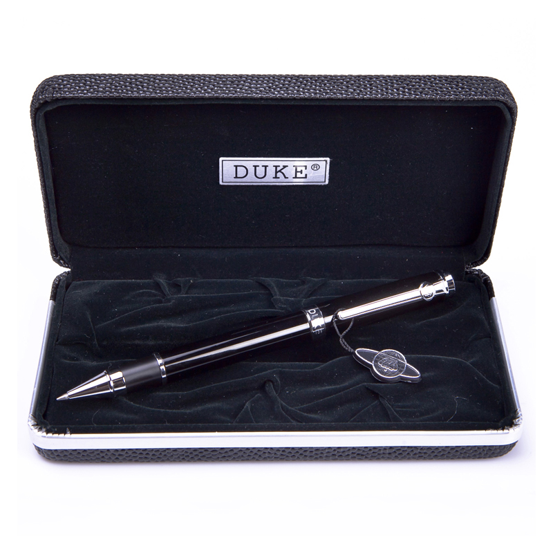 Hot Sale Writing Stationery Duke High Quality Black and Silver Rollerball Pen with Original Gift Case 0.7mm Metal Ballpoint Pens цены онлайн