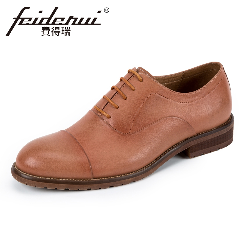 Classic Genuine Leather Men's Handmade Oxfords Vintage Round Toe Lace-up Man Wedding Flats Formal Dress Office Shoes KUD176 good quality men genuine leather shoes lace up men s oxfords flats wedding black brown formal shoes