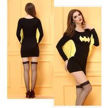 Fashion Ladies Women Holloween Batman Costume Bodycon Clothes Sexy Mini Dress Sexy Women Halloween Cosplay Costume