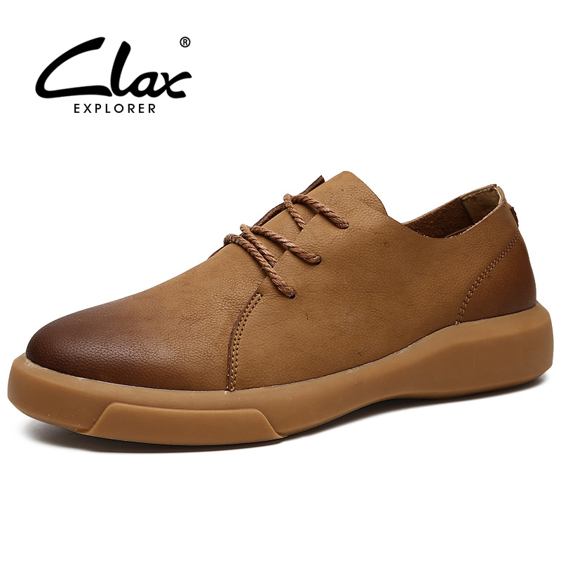 CLAX Mens Shoes Leather Spring Autumn Casual Shoe Male Boot Walking Footwear Chaussure Homme Genuine Leather Fashion Plus Size