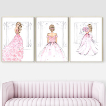 Watercolor Fashion Girl Pink Rose Wedding Dress Wall Art Canvas Painting Nordic Posters And Prints Pictures For Living Room