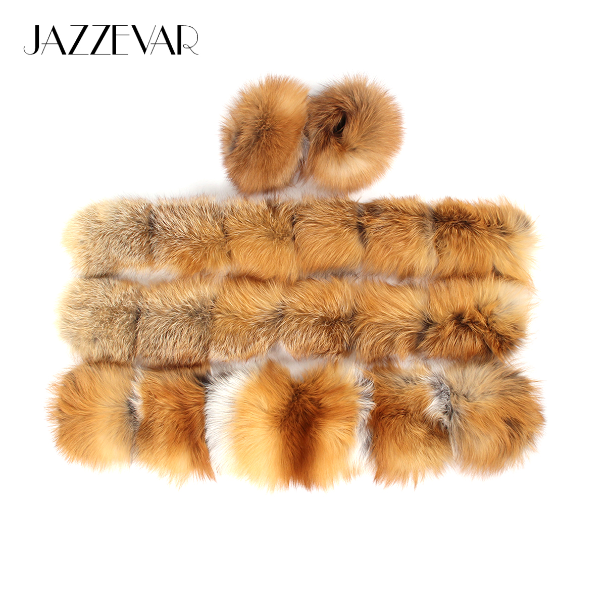 JAZZEVAR Large hooded furs real fox fur collar front fly and cuff