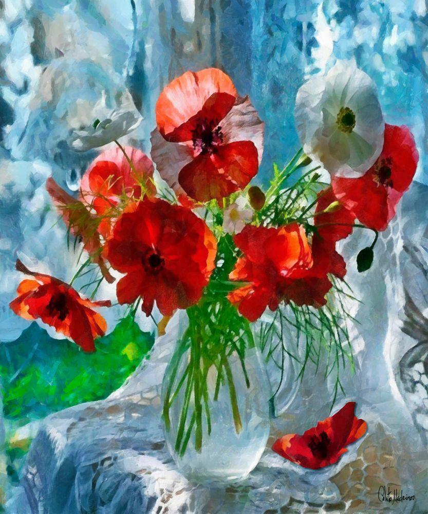 peinture d artiste contemporain peint a la main nature morte avec coquelicots par celito medeiros fleur peinture a l huile nature morte arts muraux