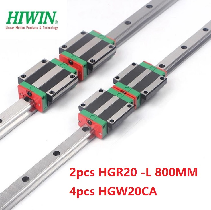2pcs Taiwan Hiwin linear guide rail HGR20 -L 800MM + 4pcs HGW20CA/HGW20CC linear flange blocks for cnc2pcs Taiwan Hiwin linear guide rail HGR20 -L 800MM + 4pcs HGW20CA/HGW20CC linear flange blocks for cnc