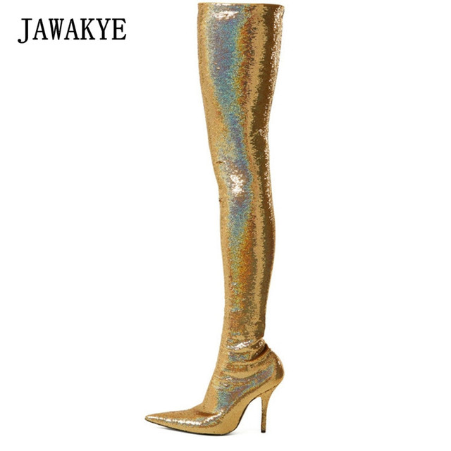 Bling золота блестками эластичный носок ботинки с высоким голенищем Для женщин пикантные туфли на высокой шпильке с острым носком обувь для в...