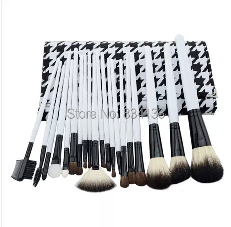 professional 20pcs goat hair white wood handle cosmetic