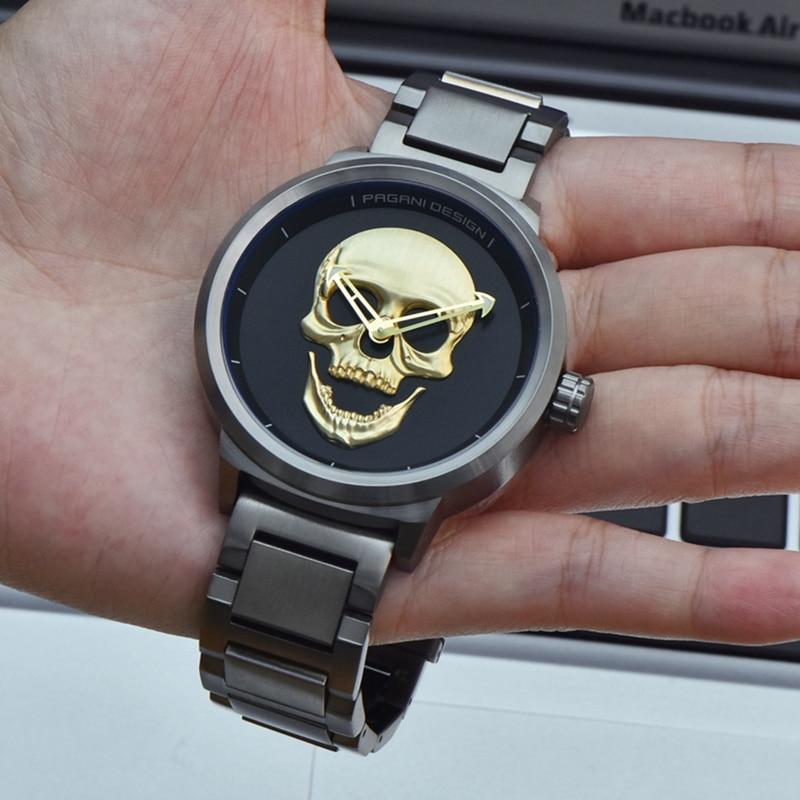 탑 럭셔리 pagani 디자인 펑크 3d 해골 시계 남자 레트로 패션 시계 브랜드 남자 시계 군사 비행가 석영 relogio masculino-에서수정 시계부터 시계 의  그룹 1