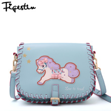 FIGESTIN 2016 Girls Leather Messenger Bag Summer Fresh Original Design Flap Letter School Shoulder Bags For Girls Cartoon Horse
