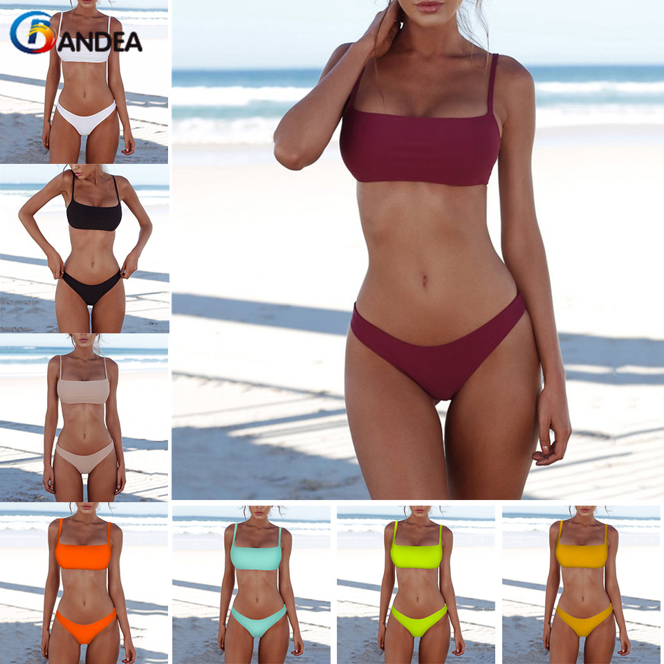 Women''s Padded Tube Top Bandeau Bikini Set Swimwear Beachwear Bathing Swimsuit