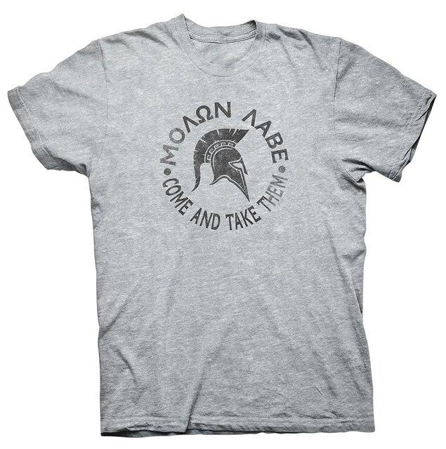 mens t shirt Spartan Warrior   Come and Take Them HELMET CIRCLE T-Shirt