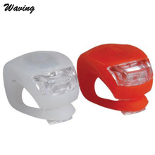 1PC Flashlight Cycling Front Light 2 x LED 2017 Bicycle Bike Cycling Silicone Head Front Rear Wheel Safety Light Lamp Jan 25