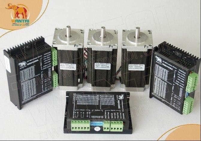 Wantai New Sale CNC 3 Axis Nema 23 Stepper Motor 57BYGH115 003 425oz in Driver DQ542MA