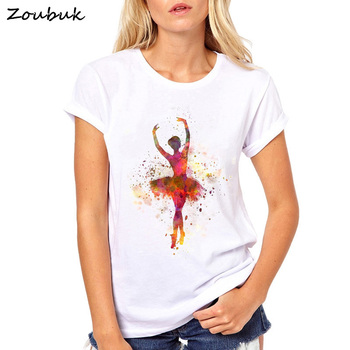 Danza Ballet Lindo Mujeres Camisetas Diseño Tops Elegante 2018 Bailarina Camiseta Mujer Chica De Postura Manga Corta Aqua Nuevas wmON8n0yv