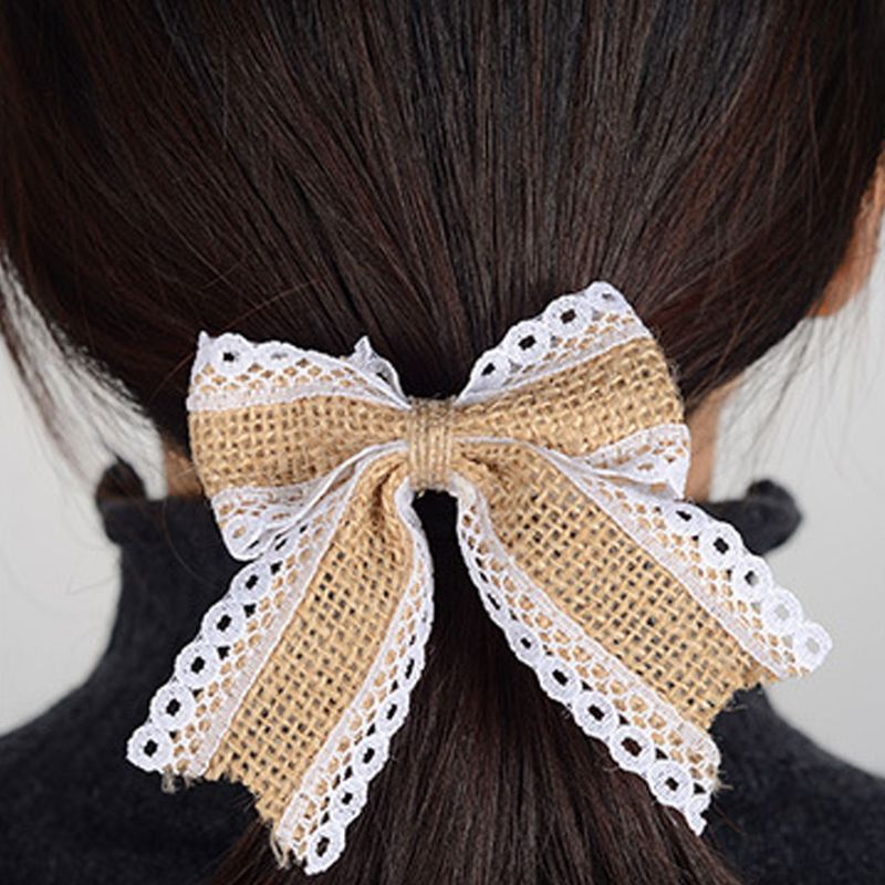 DIY Simple Rustic Burlap Craft Jute Bow Ties Lace Trim Ruched Bowknot Christmas Tree Ornaments Sewing Wedding Decoration 2019
