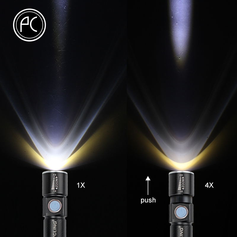 PCycling Bicycle Light 2000 Lumen USB Rechargeable Bike Front Light MTB Bike Light Zoom Flashlight Waterproof Built in Battery in Bicycle Light from Sports Entertainment