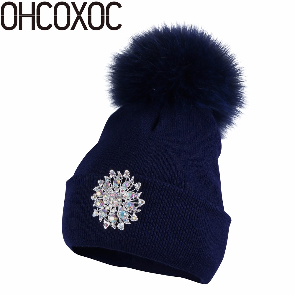 OHCOXOC New Women   Beanies   Real Mink Fur Pom Poms Ball Cap Keep Warm   Beanies     Skullies   Big Shiny Rhinestone Autumn Winter Hat