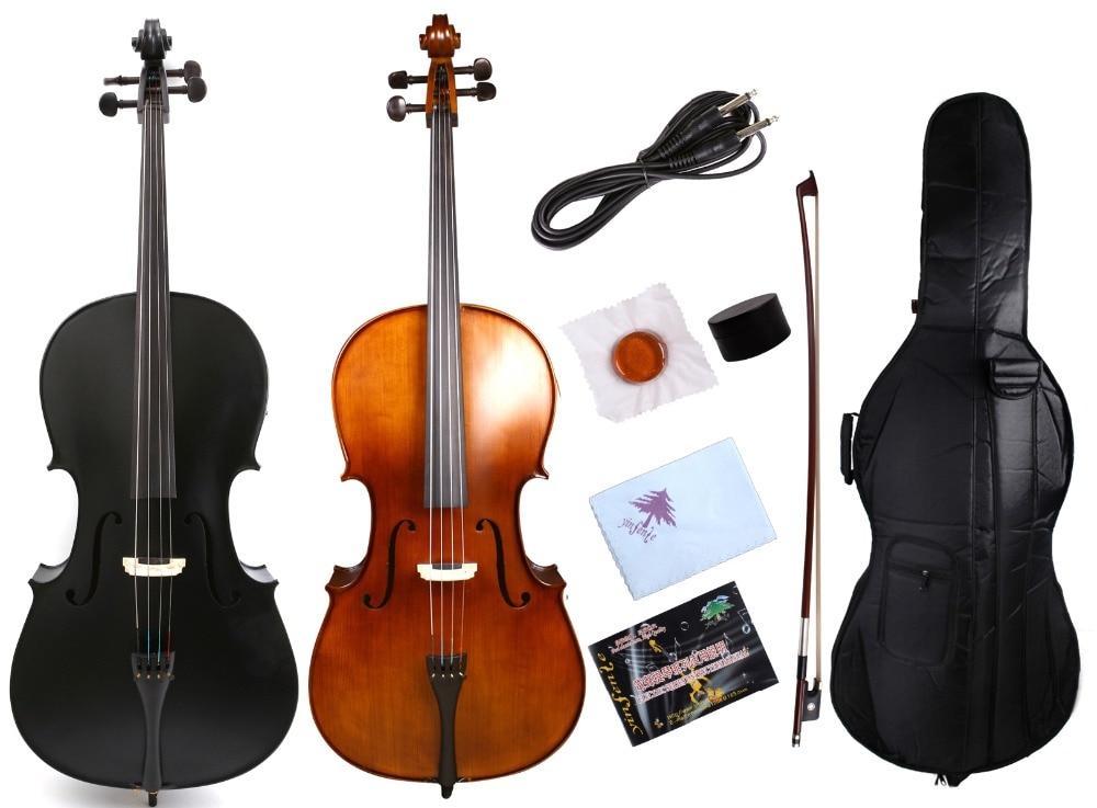 Yinfente 4/4 Cello Full Size Cello Maple Spruce Wood Sweet Sound Ebony Fittings Cello Bag Cello Bow