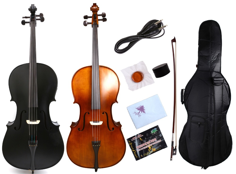 Yinfente 4/4 Cello Full Size Cello Maple Spruce Wood Sweet Sound Ebony Fittings Cello bag Cello Bow