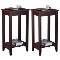 Giantex Set Of 2 Tall End Table Coffee Stand Night Side Accent Furniture Modern Home Wooden