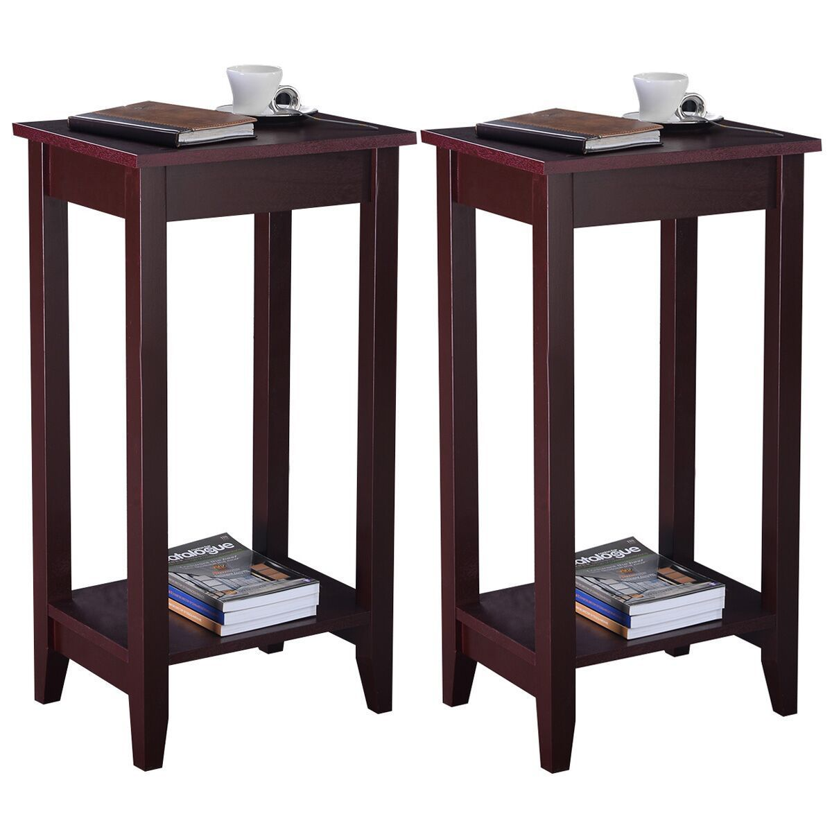Giantex Set of 2 Tall End Table Coffee Stand Night Side Accent Furniture Modern Home Wooden Storage Coffee Tables 2*HW51529 st george judith stand tall abe lincoln