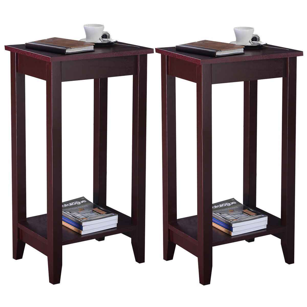 giantex set of 2 tall end table coffee
