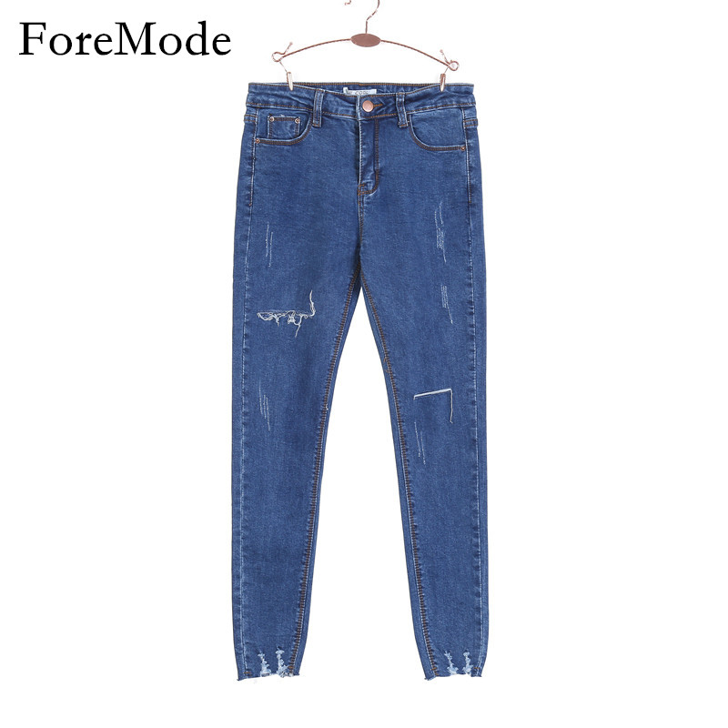 ForeMode High Waist Skinny font b Jeans b font Female Scratch Worn Feet Vintage Pencil Pants