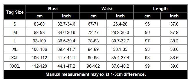 ED-A113 knee length size chart