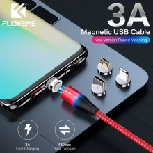 FLOVEME 3A Magnetic Cable Micro USB Type C Lighting Charger Cable