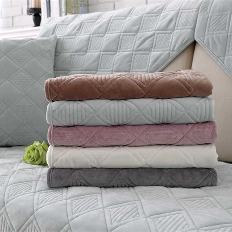 Funda protectora de sofá de felpa sólida antideslizante para mascotas funda de terciopelo funda de sofá toalla para sala de estar decoración de sofá en forma de L