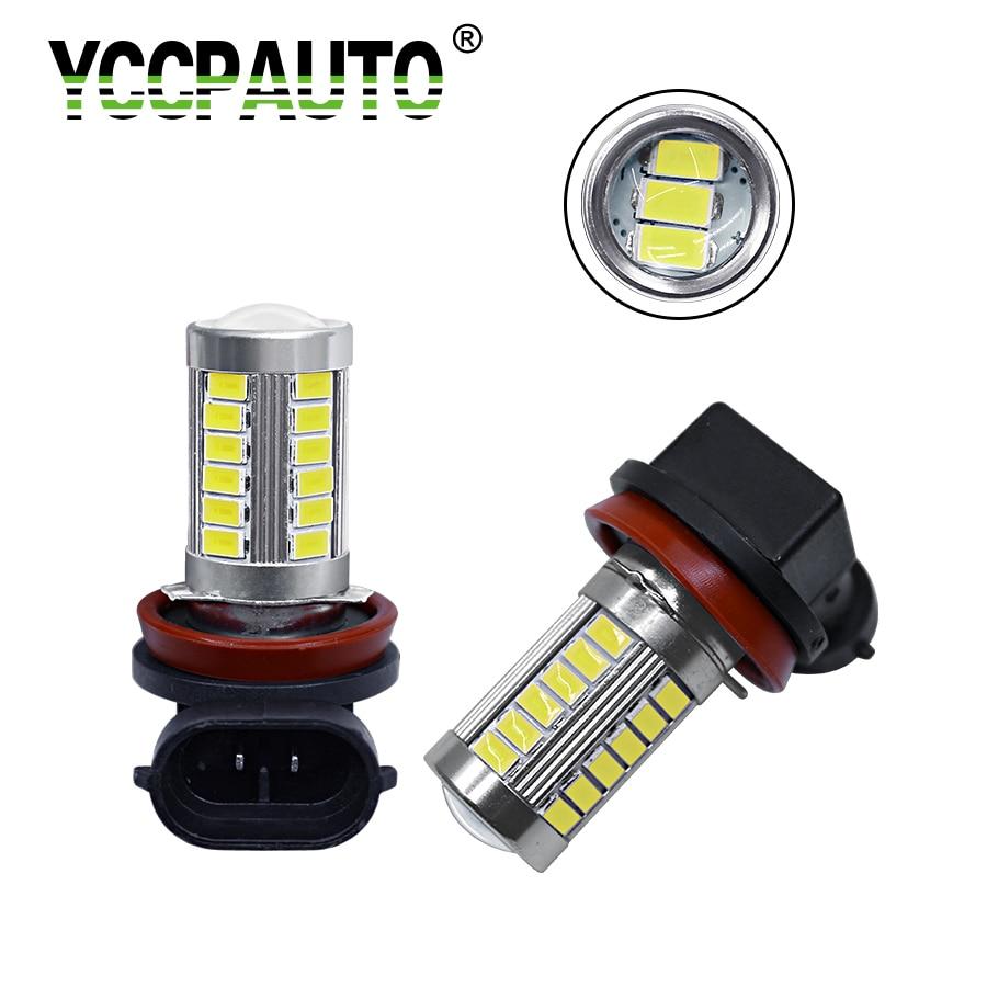 YCCPAUTO 2Pcs 9005 Hb3 9006 Hb4 H8 H11 LED Fog Lights Bulbs Auto Fog Lamp 5630 33SMD Car Light White DC12V