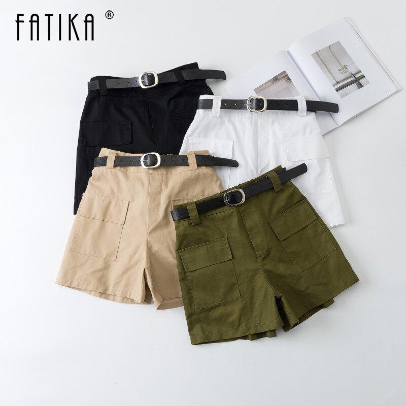 FATIKA 2019 Hot Boyfriend Shorts Women Casual High Quality Pocket Shorts High Waist All Base Match Shorts Summer For Women