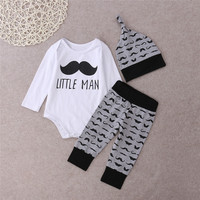 3pcs Set 2016 Autumn Baby Clothes Set Kid Baby Boys Girls Cotton Tops Romper Leggings Pants