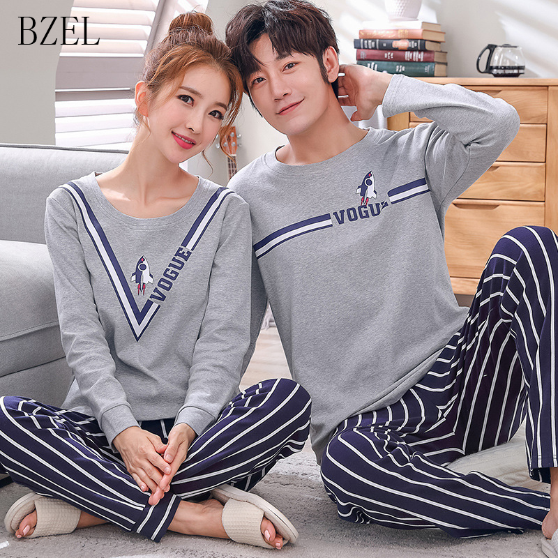 BZEL Cotton Couple Pajamas Set Cute Cartoon O-neck Long Sleeve Sleepwear Soft