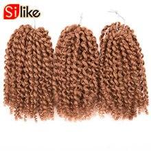 Silike 2packs/много странный твист marlybob вязанная косами 8 дюймов низкая Температура Волокна крючком волос 3 шт./компл. для женщин
