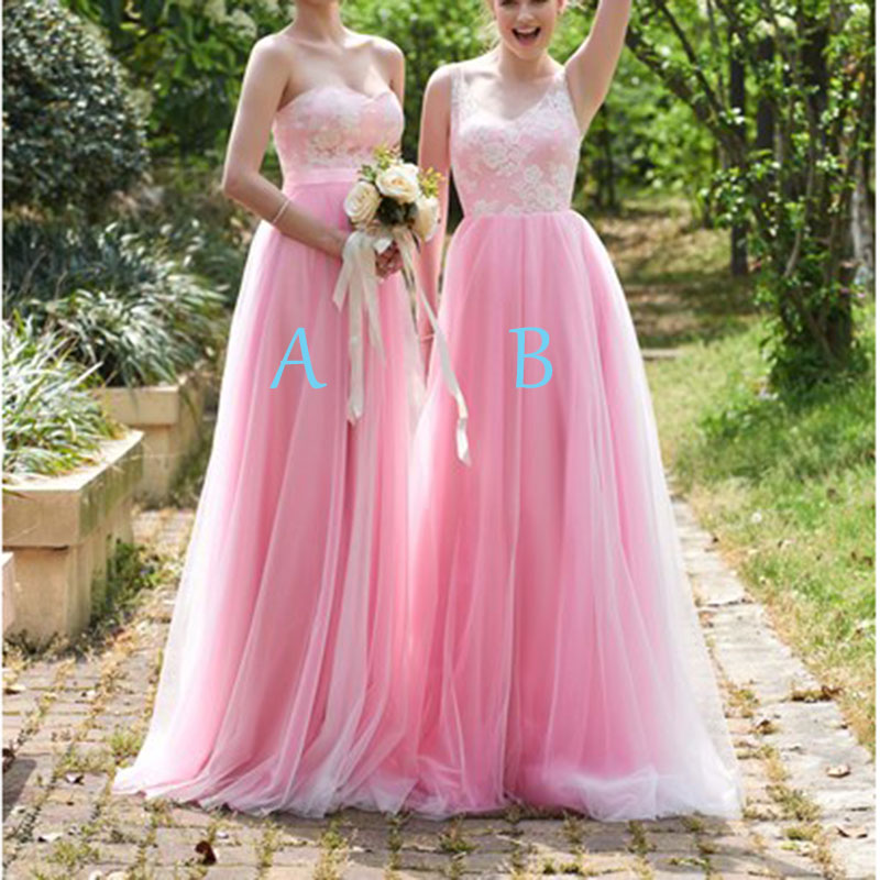 New Arrival V-neck Long   Bridesmaid     Dresses   2018 Pink Lace Tulle Party Gowns Custom Made Vestido De Festa De Prom   Dress   Plus Size