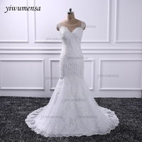 YiWuMenSa Lace Mermaid Wedding Dresses With Long Train Vestido De Novias Long Sleeves Wedding Dress 2016