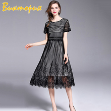 CHARAS brand women's dress high quality Female  Lace Dresses Medium long Short sleeve Slim fit Bohemia Beach