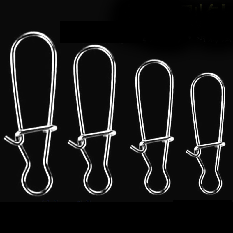 Simpleyi 100pcs Stainless Steel Hook Fast Clip Lock Snap Swivel Solid Rings Safety Snaps Fishing Hook Connector Tool