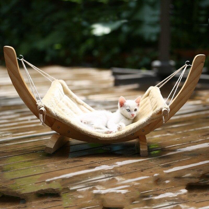 Fournitures pour animaux de compagnie hamac lit en bois massif chat chien hamac litière chien chat balançoire chat maison en plein air chat hamac extérieur jouet