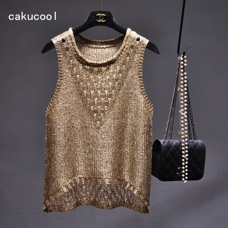 Cakucool Gold Lurex Summer Top Women Sexy Hollow out Knit Sleeveless Blouse Shirt Holes Casual Bling Sequins Tanks Femme Khaki