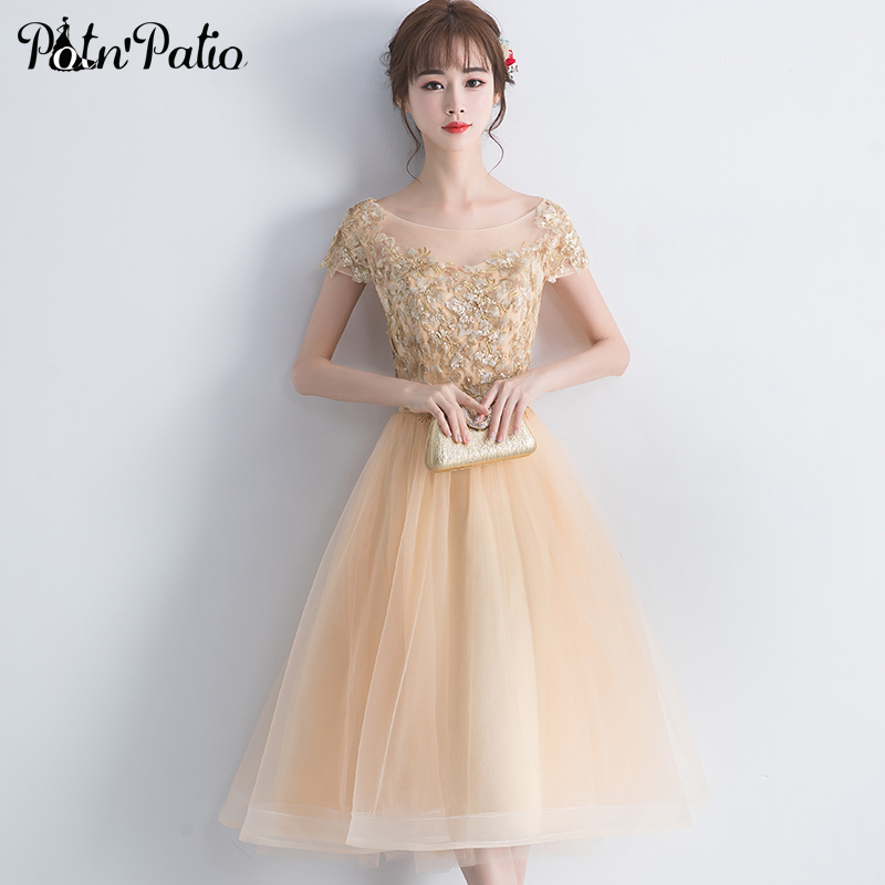 Elegant Scoop Neck Gold Tulle Short Evening   Dresses   Sexy Backless Sequined Appliques 2019   Prom     Dresses   With Cap Sleeves
