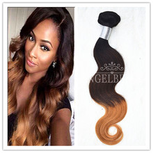 Angelbella 2016 Hot Ombre Brazilian Hair Full Ending 300G/Lot  Three Tone Ombre Hair Extensions 1B#4#8#  Brazilian Body Wave