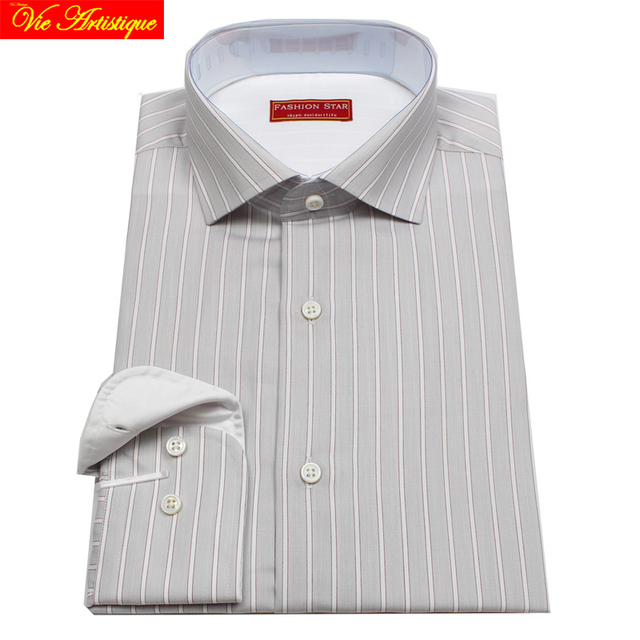 98a1f5191f men's long sleeve grey white pin striped dress shirts male tailored 6789 XL  business office cotton slim fit 2018 spring summer -in Dress Shirts from  Men's ...