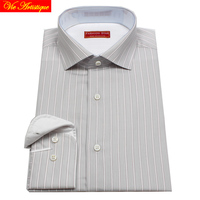 men's long sleeve grey white pin striped dress shirts male tailored 6789 XL business office cotton slim fit 2018 spring summer