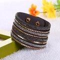 Multilayer Slake Leather Bracelets For Women 2016 rhinestone crystal wrap Bracelets Femme pulseras