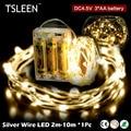 Marca TSLEEN 10 M bateria operado LED luzes do feriado de Natal decor mini prata fio de cobre de fadas estrelado twinkle luz cordas