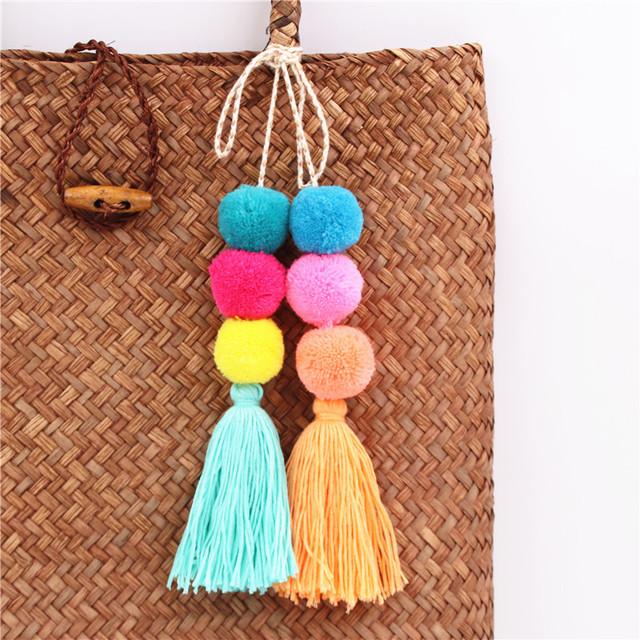 Boho Pompom Keychain With Tassel